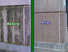 Before and after picture of commercial pressure washing in Maryland buildings