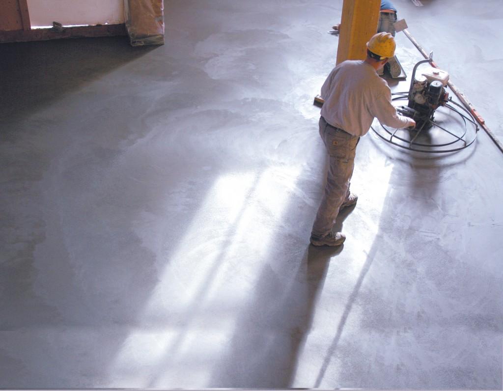 Drying concrete floor during loft